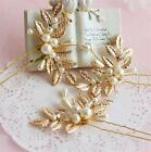 Vintage Wedding Bridal Crystal Pearl Leaf Tiara Hair Accessories Headpiece Pins
