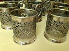 Set of 8 VTG Silver Plated Tea Cup Holder W.A.signed made in Italy, 2,5