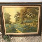 c1955 PORFIRIO SALINAS oil transfer/canvas,24x30 TEXAS BLUEBONNETS,Hill Country