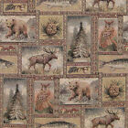 BEAR MOOSE PATCH UPHOLSTERY FABRIC MOUNTAIN LODGE YELLOWSTONE RUSTIC TAPESTRY