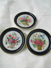 Vintage W. Germany porcelain 3 Coasters Kaiser Cobalt blue Wall Mount Flowers