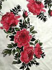 Large Print Red Black White Green Roses Floral Upholstery Curtain Fabric 2.25 Yd