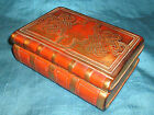 Vintage ITALIAN CERAMIC BOX As Stack of Leather Gold Antique BOOKS Celtic Knot