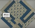 20 6 Blue  Beige Quilt Fabric Squares Charm Pack Flowers Stripes 01 6026