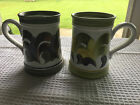 Two Vintage DENBY Stoneware Hand Painted Tankards/Mugs England Autumn Colors