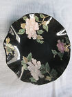 Fitz & Floyd Cloisonne Peony Black Fluted Ruffled Accent Salad Serving Bowl