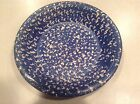 Blue sponge large pottery pie plate 11