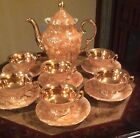 WALBRZYCH POLISH LUSTER TEA POT WITH 6 CUPS AND SAUCERS GOLD INSIDE