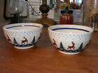 Polish Pottery Christmas Tree Reindeer Cereal Soup Bowl Boleslawiec Poland