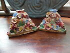 Antique Pair of Handmade Beautiful- Colorful Flower Candle Holders