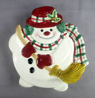 Fitz & Floyd Plaid Christmas Snowman Canape Tray New in Box Appetizer Dish