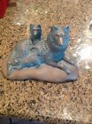 Vintage Frankoma Pottery Dog w/2 Puppies Figurine, Green Copper Brown Numbered