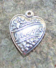 VINTAGE STERLING SILVER PUFFY HEART CHARM Repousse I Love You with flowers