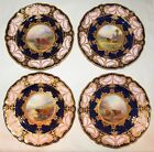 Four Harry Stinton Worcester Cabinet plates. Highland Cattle Scenes.  1925, 1931