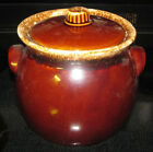 Vintage Hull Oven Proof USA Brown Drip Glaze Cookie Jar or Bean Pot Stoneware
