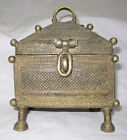 001 An old solid brass jewellery or coin collecting box rich patina BUSTER ART