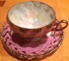 VINTAGE ROYAL SEALY 3 FOOTED SWAN HANDLE PINK IRIDESCENT LATTICE CUP AND SAUCER