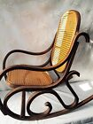 Vtg BENT WOOD CHILD ROCKER cane back bottom rocking chair mid century modern