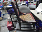 Vintage Antique Childs Caned Seat No Arms Wooden Wood Rocking Chair Cane