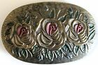 Vintage Hair Barrette Oval with Three Roses