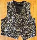David Donahue Silk Brocade Tuxedo Evening Vest Black Silver XL Mint! MSRP $255