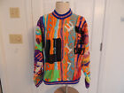 Mens COOGi AUSTRALIA sweater vtg mutli color 3D wool crazy wild Awesome EUC sz S