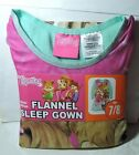 New Girls Chipettes Chipmunks Flannel NIGHTGOWN Sleep Night Gown Long Size 7/8