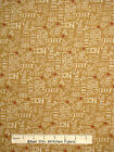 Christmas Fabric - Holiday Words Toss Golden Bg Whimsy Red Rooster #25206 - Yard