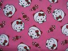 HELLO KITTY COTTON FABRIC PACKED ESKIMO HEADS CHRISTMAS FABRIC-BY THE YARD