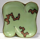Vintage Jasba West Germany Pottery Nut Dish Mid Century Pale Green Gold Veins