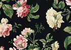 Waverly Fabric Romantic Black Burgundy Pink Green Yellow Drapery Upholstery
