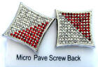 Hip Hop Silver Red Platinum CZ 11x11 Row Micro Pave Screwback 16mm Kite Earrings