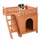 Wood Pet Dog House Wooden Puppy Room Indoor  Outdoor Roof Balcony Bed Shelter