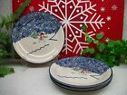 Lot of 4 Thomson Pottery Christmas Holiday SNOWMAN Salad or Dessert Plates