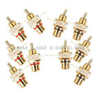 5 Red + 5 Black RCA Jack Panel Mount Chassis Socket Gold Plated