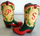 Cowboy Western Boot Ceramic Salt  Pepper Shakers Floral