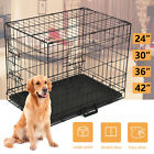 2 Door Portable Dog Pet Cage Collapsible Metal Crate Kennel House Playpen Black