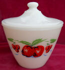FIRE KING GREASE JAR LID APPLES CHERRIES VINTAGE ANCHOR HOCKING