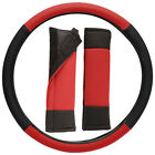 Faux Leather Steering Wheel Cover And Two Seat Belt Covers Choose From 6 Colors
