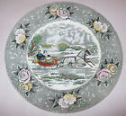 Adams China Currier Ives Amercian Ways Dinner Plate Country Road Winter Sleigh