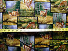 WHITETAIL DEER PATCH  WILD WINGS PRINT 100% COTTON FABRIC  BY THE 1/2 YARD