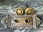 Antique BRASS DOOR KNOBS WITH BACK PLATE - Entry Lock Set