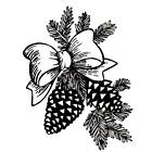 PINE CONES  BOW Christmas unmounted rubber stamp winter festive holiday 7