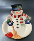 Fitz & Floyd Snack Therapy Snowman Chip Dip Tray 2004