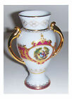 HAND PAINTED 6 INCH WHITE PORCELAIN VASE WITH GOLD TRIM