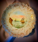 Antique French Limoges Hand Painted Plate, Sailboat Seacape Scene Fishing Vessel