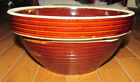 Vintage Stone Monmouth Brown Serving Mixing Bowl Stoneware Maple Leaf Ribbed