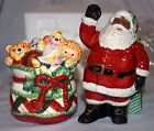 NIB Fitz and Floyd Remembering Santa BLACK Hand Crafted Ceramic Salt