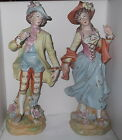 Pair of old Bisque Figurines ~ Man and Woman in 1700s dress ~ 13 3/4