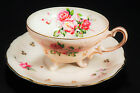 Antique Lefton Japan Hand Painted Rose 3 Footed Pastel Pink Gold Tea Cup Saucer